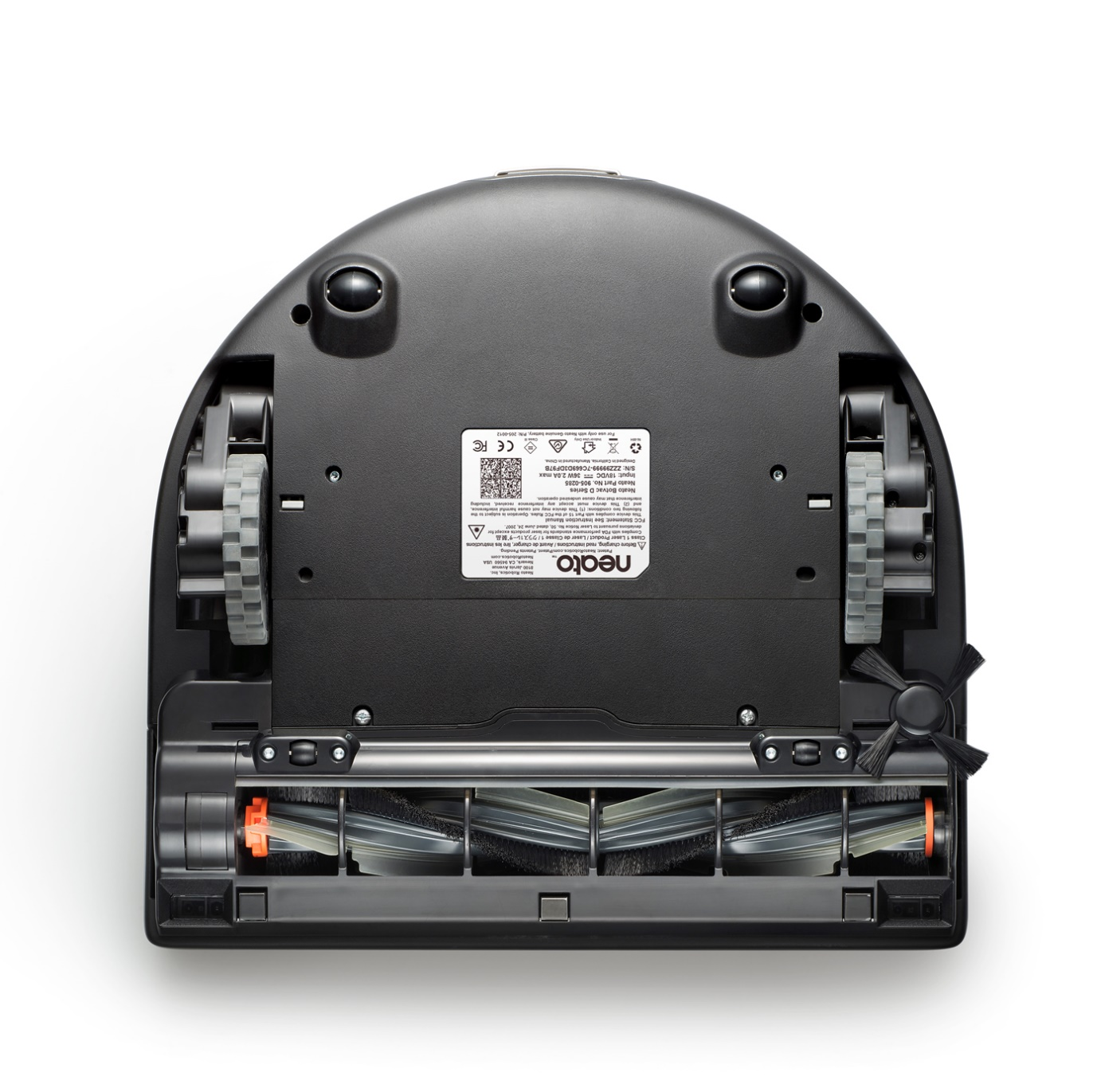 D-shaped robotic vacuum cleaner bottom