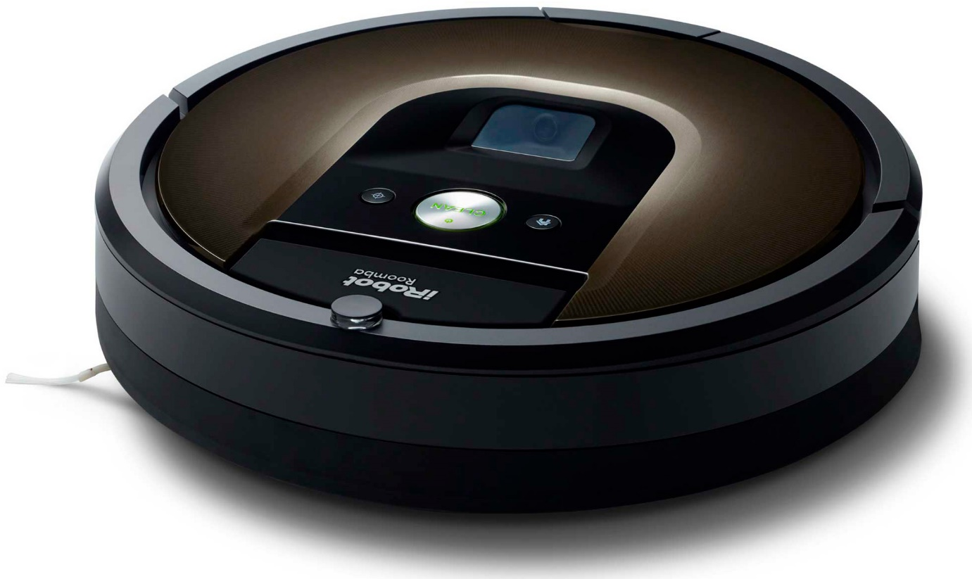 Robotic vacuum cleaner with camera pointed at the horizon