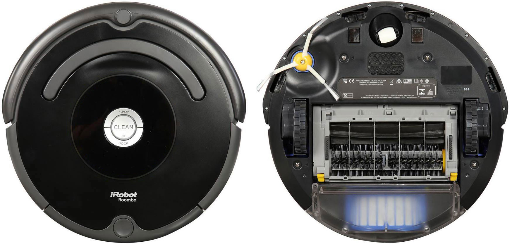 iRobot Roomba 614 top and bottom