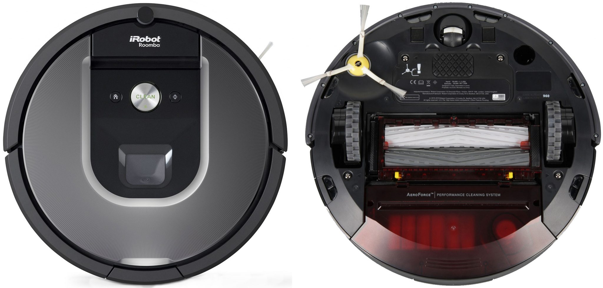 iRobot Roomba 960 top and bottom