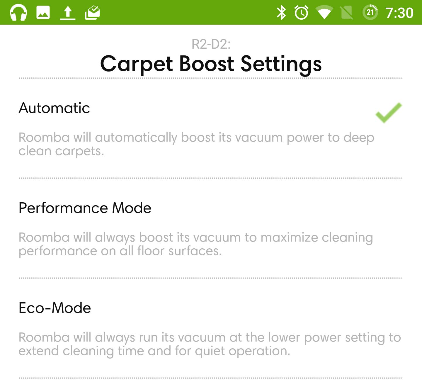 iRobot Roomba 980 carpet boost settings