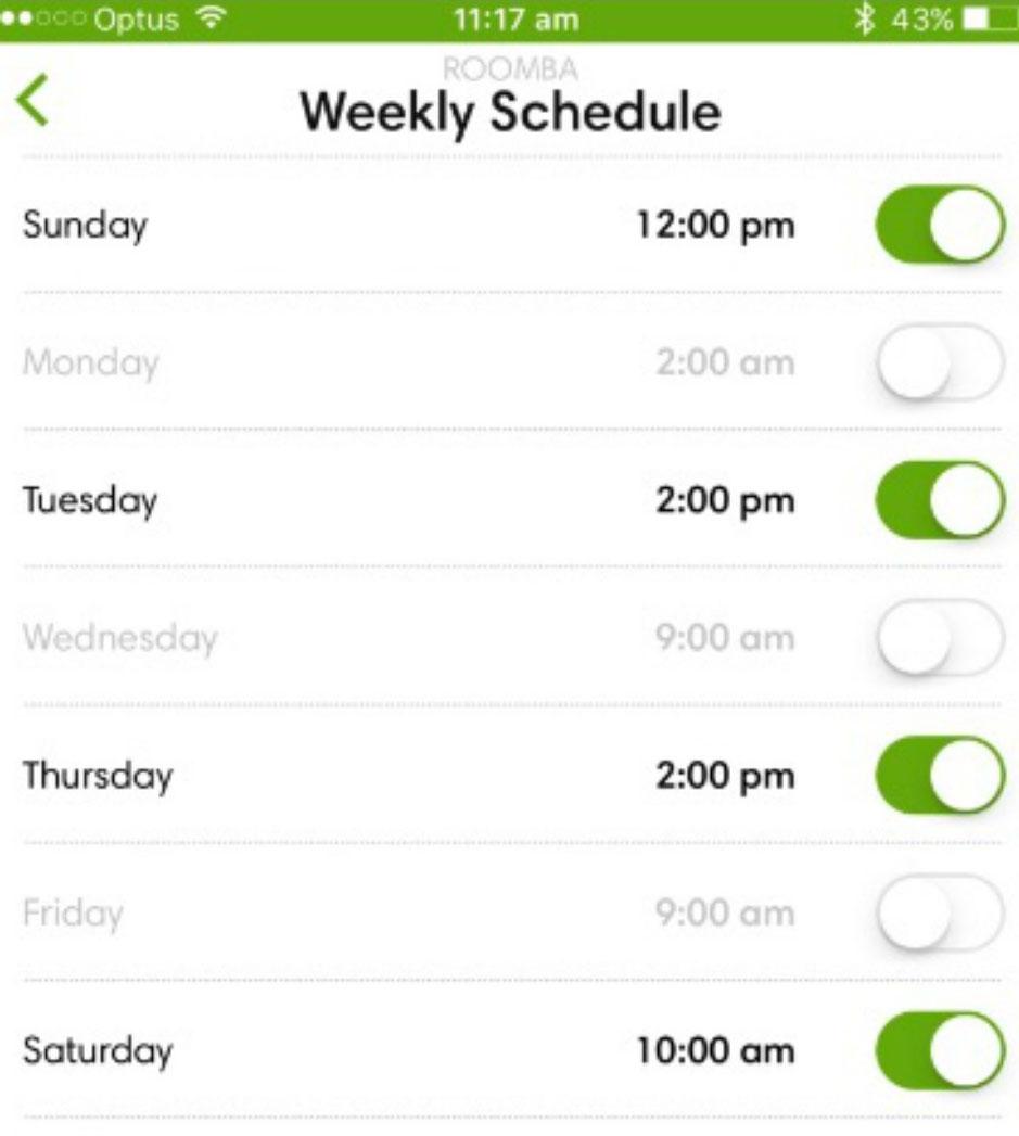 iRobot Roomba 980 schedule