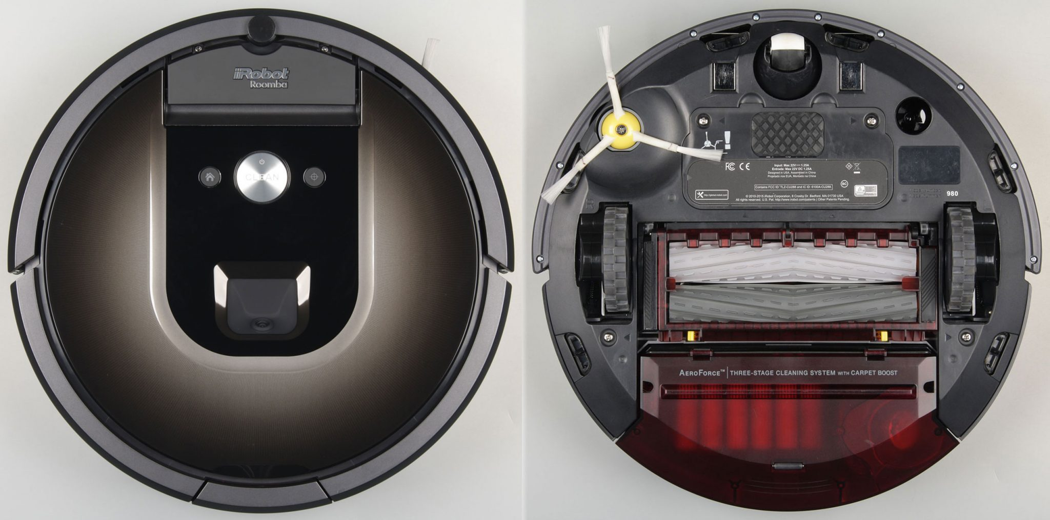 iRobot Roomba 980 top and bottom